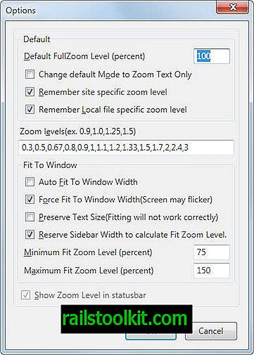 Alterar o nível de zoom padrão do Firefox