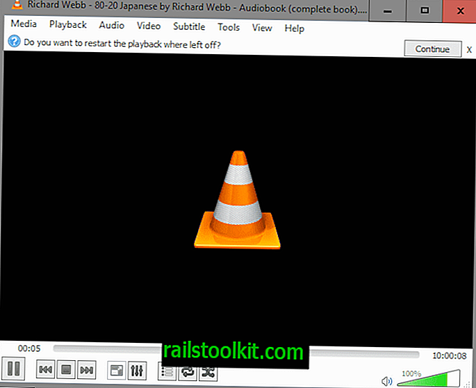 """VLC 2.2.3 nustato """"Resume"""" funkciją"""