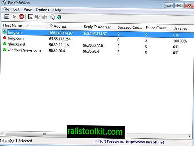 Ping Info View, Ping več imen gostiteljev, naslovi IP