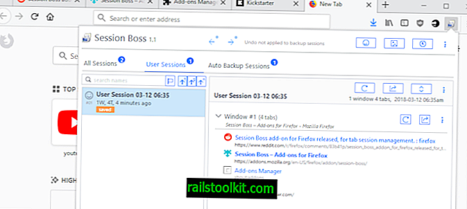 Guardar y restaurar pestañas de Firefox con Session Boss