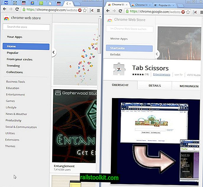 Split Google Chrome in twee vensters met Tab Scissors