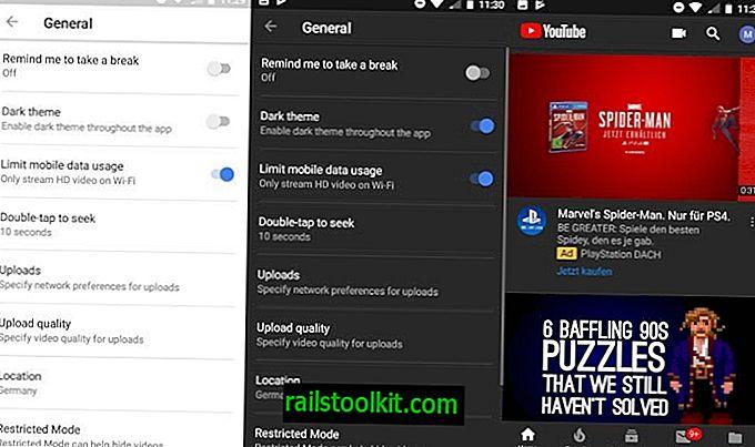 Lubage tume teema Android-YouTube'i rakenduses