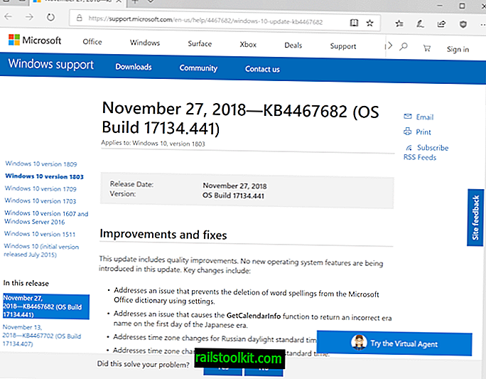 "KB4467682 ir KB4467681, ""Windows 10 1803"" ir ""1709"""