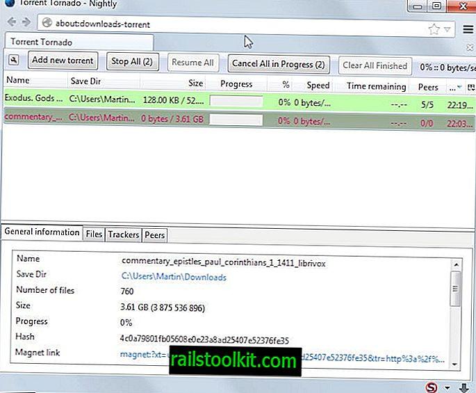 Muat turun torrents dengan Torrent Tornado untuk Firefox