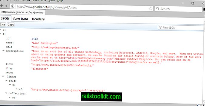 Firefox 53: JSON Viewer este activat în mod implicit