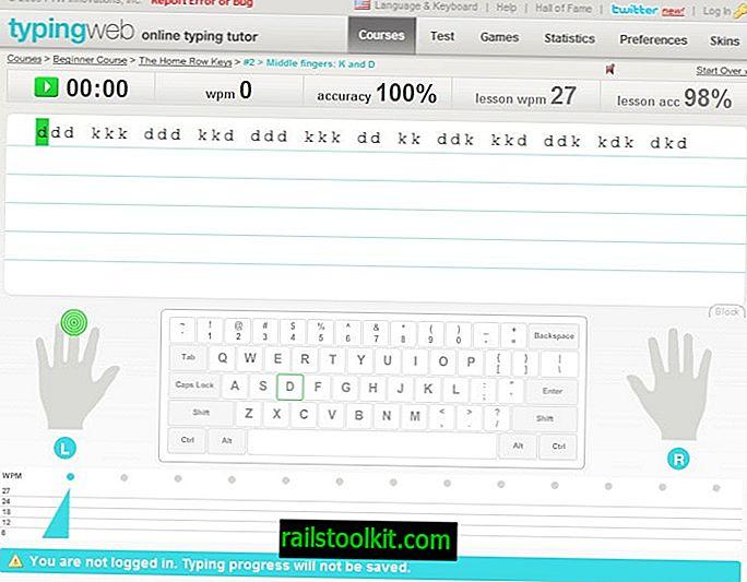 Cours de frappe au clavier d'ordinateur TypingWeb