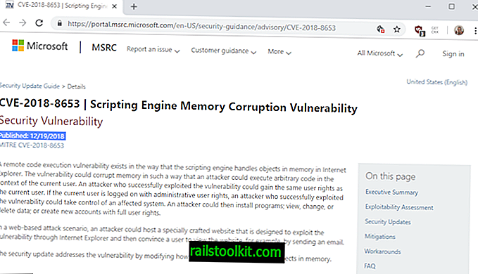 Internet Explorer 보안 업데이트 KB4483187 출시