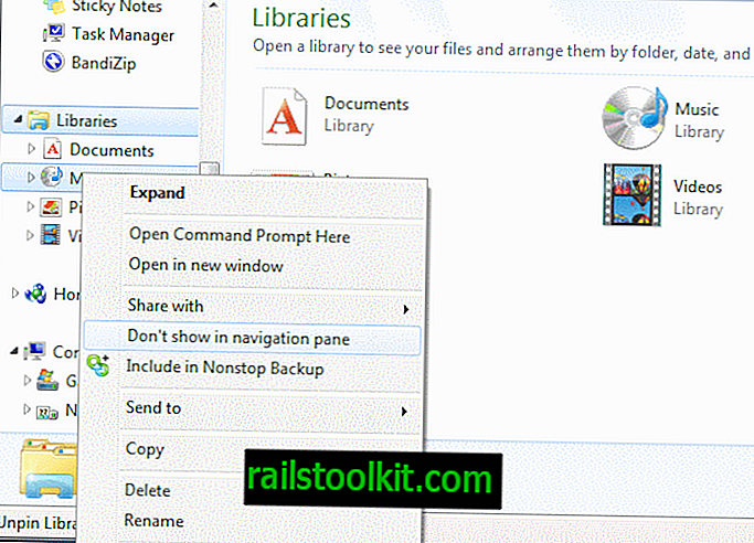 Nascondi, elimina o personalizza le librerie in Windows 7