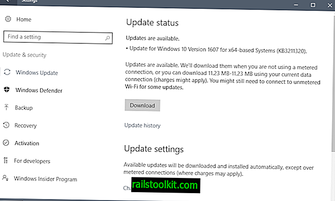 Update KB3211320 für Windows 10 Version 1607