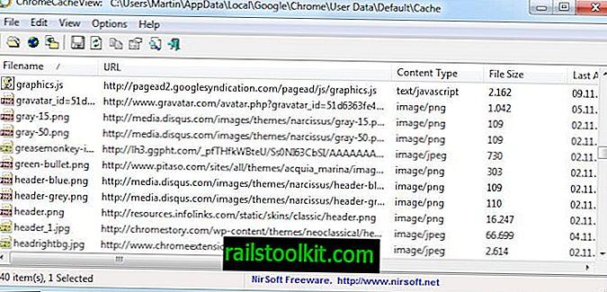 Visor de caché de Google Chrome