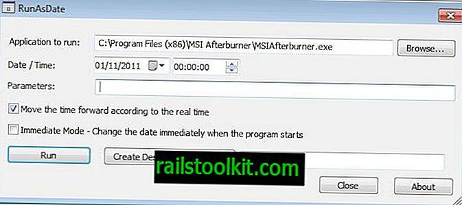 РунАсДате, покрените програме с различитим системским датумом, временом