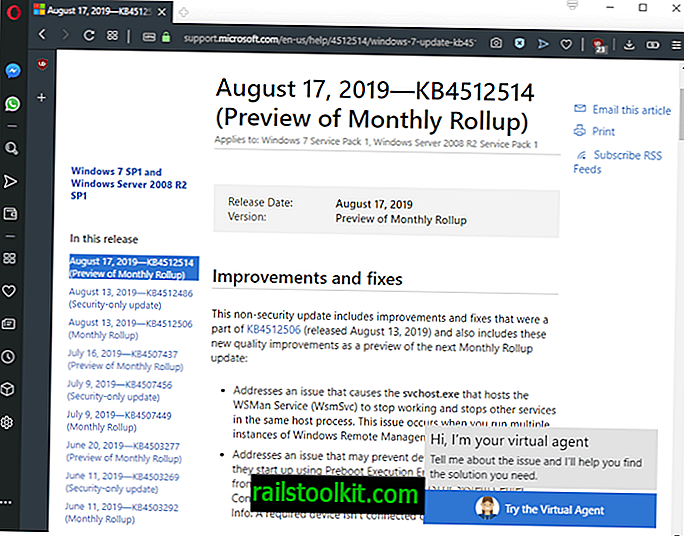 إصدارات Microsoft KB4512478 ومعاينات KB4512514