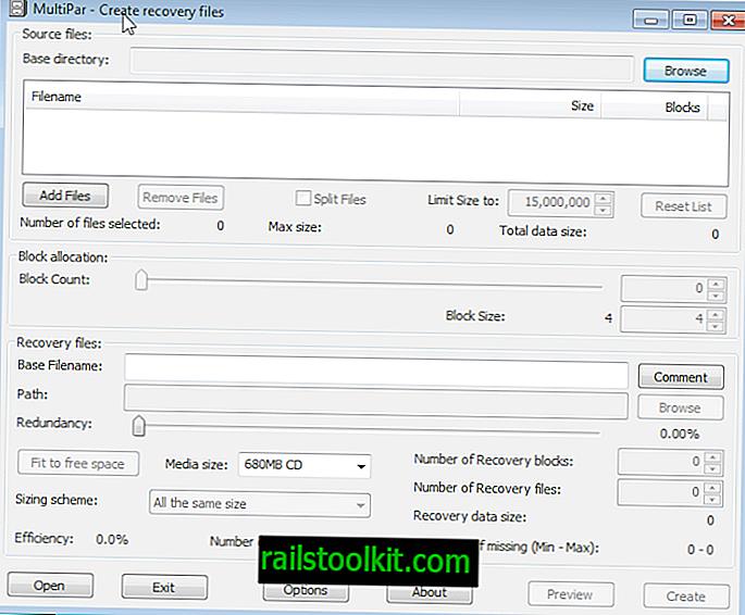 Multipar: vytvořte soubory pro obnovení par nebo opravte poškozené archivy