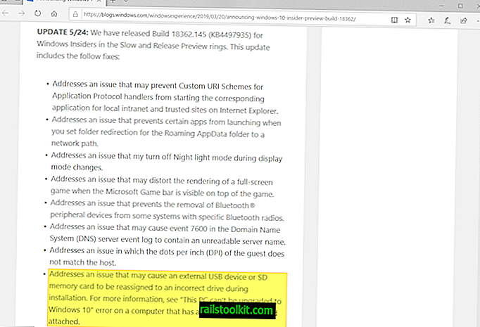 Microsoft veröffentlicht KB4497935 für Windows 10, Version 1903 (Hauptkorrekturen)