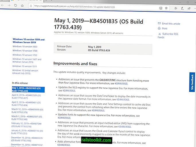 Microsoft lanza KB4501835 para Windows 10 versión 1809