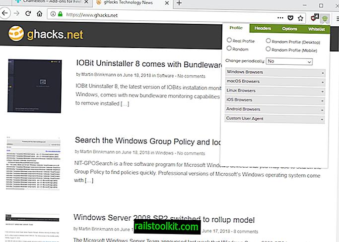 Kaméleon Firefox számára: felhasználói ügynök és adatcsalózó