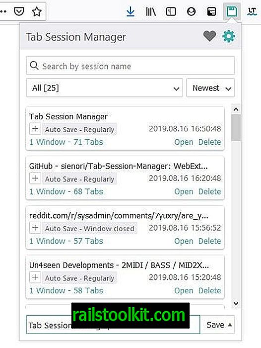 Tab Session Manager ist ein Add-On für Firefox und Chrome, das Ihre Fenster und Tabs speichert