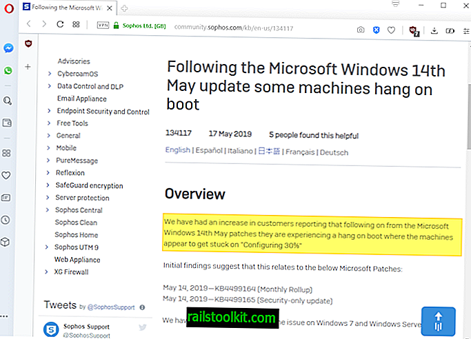อัปเดต 2019 พฤษภาคมสำหรับ Windows 7 และ Server 2008 R2 เล่นได้ไม่ดีกับซอฟต์แวร์ McAfee หรือ Sophos อีกครั้ง