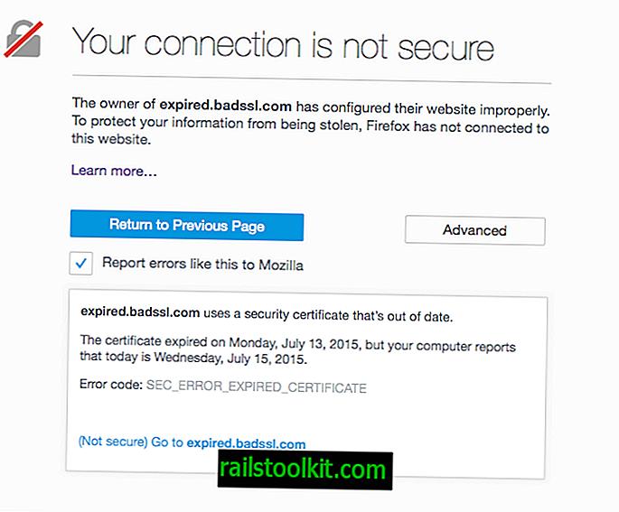 Firefox 44 obtient le remplacement pour les erreurs de certificat de sécurité faibles