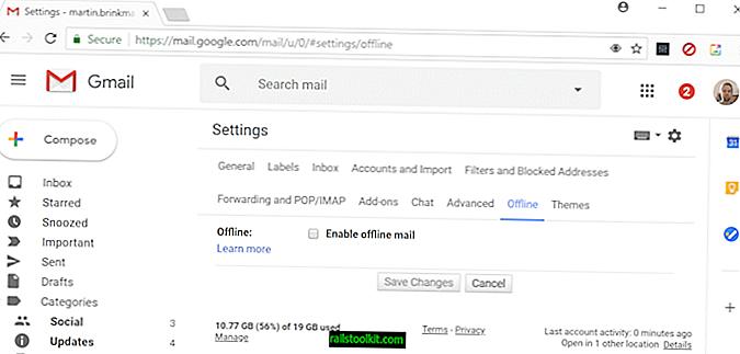 Konfigurirajte Gmail brez povezave
