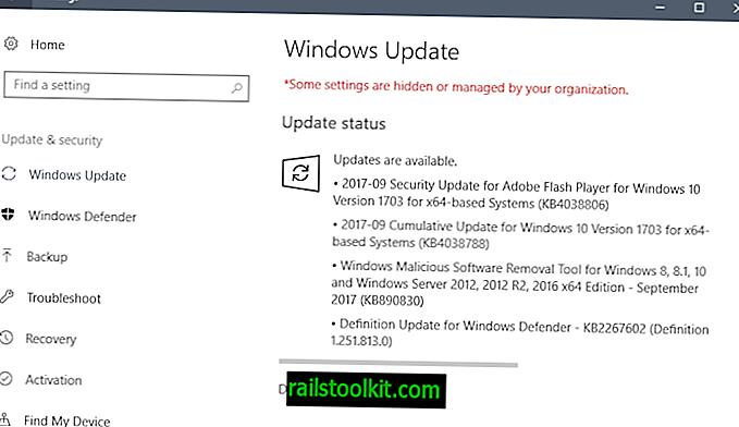 Izdaja Microsoftovih posodobitev za varnost septembra 2017
