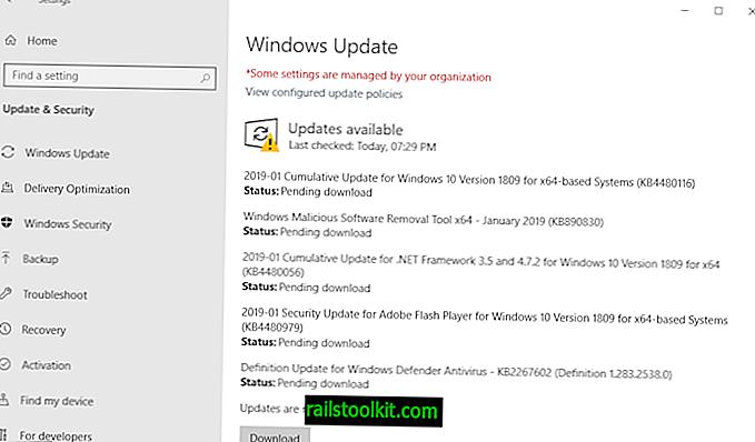 Panoramica degli aggiornamenti di sicurezza di Microsoft Windows di gennaio 2019