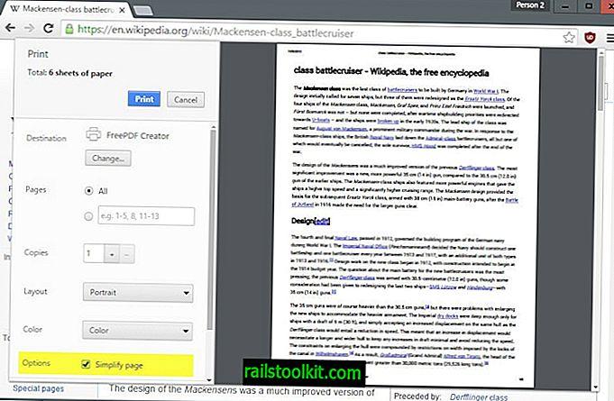 Chrome에서 페이지 단순화 인쇄 옵션을 얻습니다.