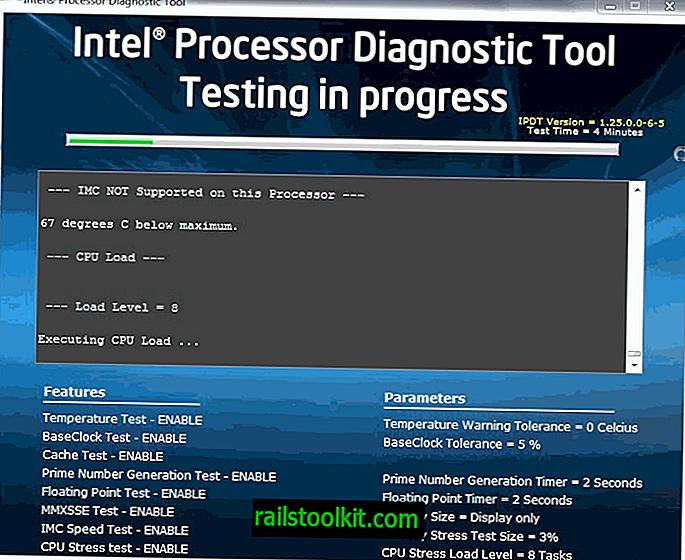 Diagnostický nástroj procesoru Intel, testování procesorů Intel