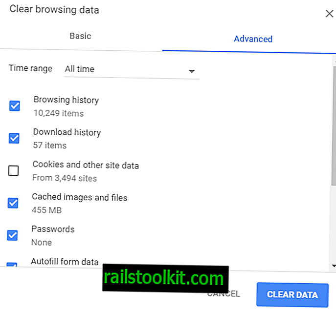 Chrome's nieuwe Clear Browsing Data Dialog is complexer
