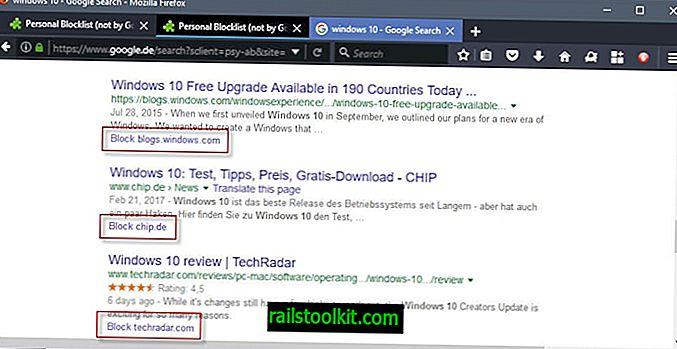 Webhelyek blokkolása a Google Keresőben a Firefox Személyes Blocklistával