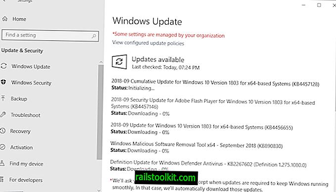 Panoramica sulla versione degli aggiornamenti di sicurezza di Microsoft Windows di settembre 2018