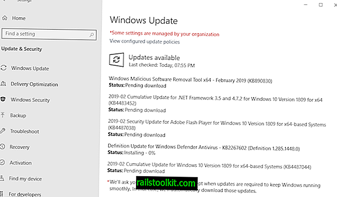 Descripción general de las actualizaciones de seguridad de Microsoft Windows de febrero de 2019