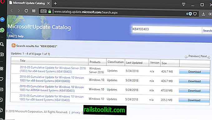 KB4100403 aggiornamento cumulativo per Windows 10 versione 1803