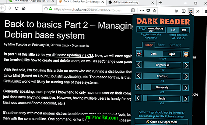 Extensia temei Dark Reader pentru Firefox