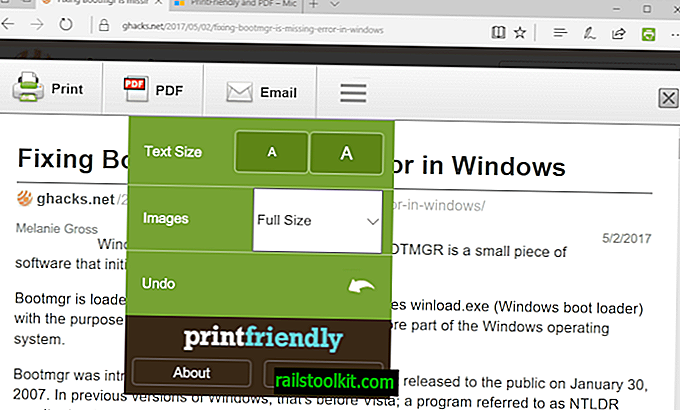 PrintFriendly ja PDF Microsoft Edgelle