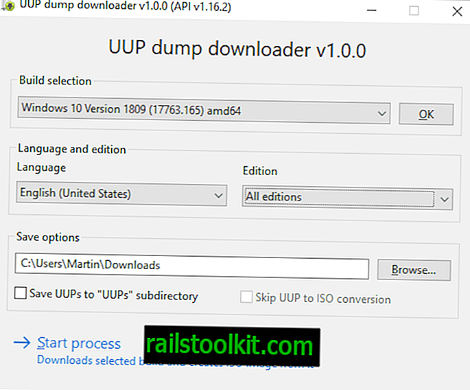 UUP Dump Downloader: télécharger des images ISO Windows 10