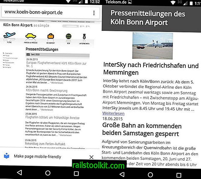 """Chrome zeigt auf einigen Websites """"Seite für Handys"""" an"""