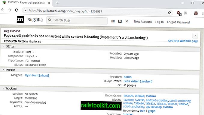Firefox 66: Scroll Anchoring แก้ไขตำแหน่งการเลื่อนข้ามระหว่างการโหลด