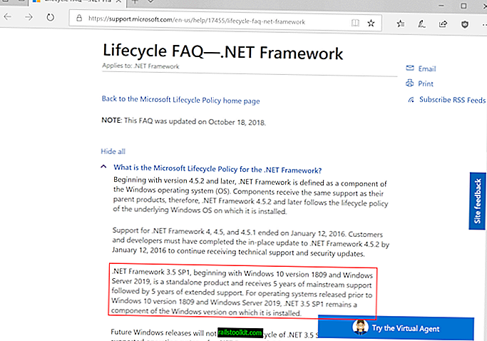 Dettagli di Microsoft .NET Framework 3.5 Fine del supporto