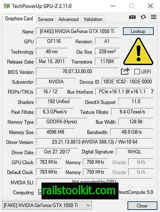 최신 GPU-Z가 일부 가짜 NVIDIA 카드를 감지