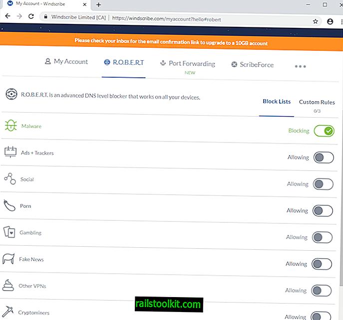 Ein Blick auf das ROBERT Domain Blocking Tool von Windscribe VPN