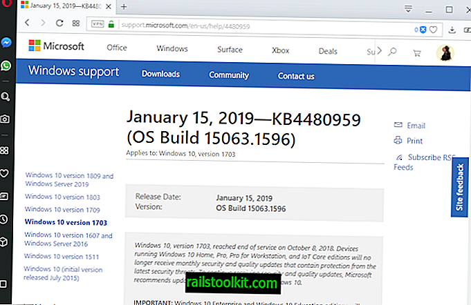 Windows 10 업데이트 KB4480977, KB4480959, KB4480967 및 KB4480976 출시