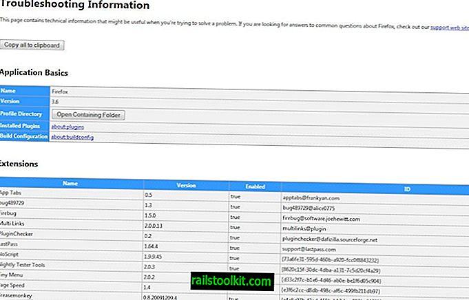 Firefox névjegy: Támogatás segít a böngésző problémáinak elhárításában