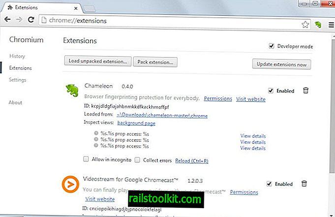 Chameleon met en évidence et vous protège des empreintes de navigateur dans Chrome