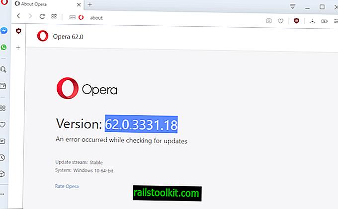 O Opera 62 saiu com algumas pequenas alterações