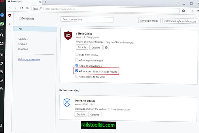Opera bloque les bloqueurs de publicité sur les résultats de la page de recherche maintenant!  Fixer à l'intérieur