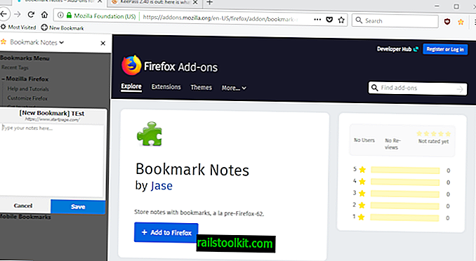 Pulihkan keterangan penanda halaman di Firefox dengan Nota Penanda Halaman