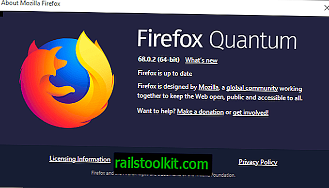 Versionsinformationen zu Firefox 68.0.2