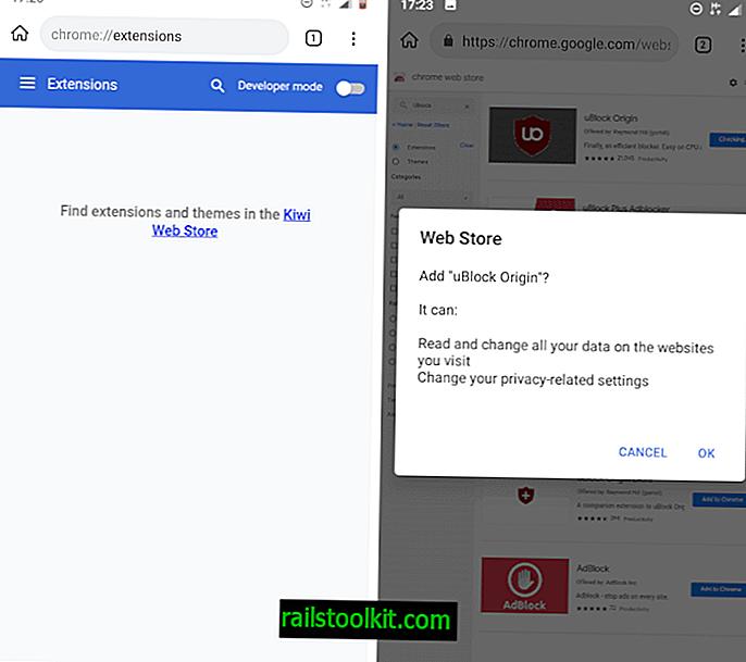 Android 용 Kiwi 브라우저 업데이트로 Chrome 확장 프로그램 지원