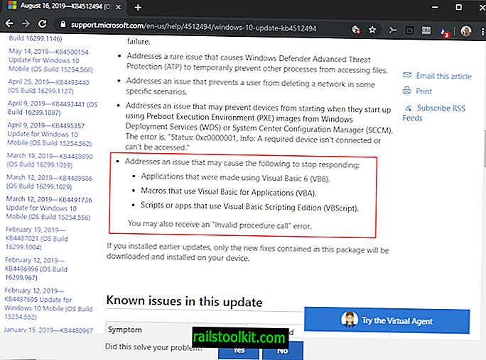 Primeras actualizaciones lanzadas que corrigen los errores de Windows VB